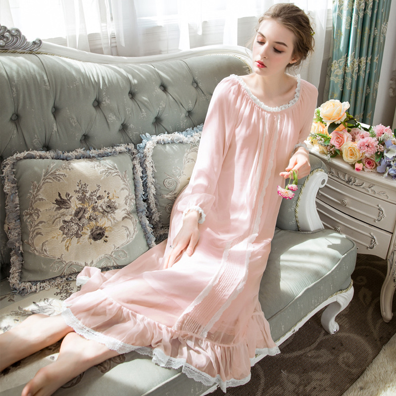 Chiffon+Modal Women Long Nightwear   Nightgowns     Sleepshirts   Exquisite Lace Trimming Long-sleeved Nightdress Autumn Beach Dress
