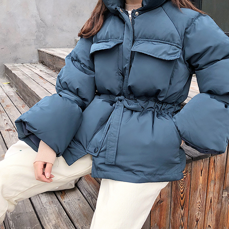 2018 New Winter Thickening   Parkas   Women Drawstring Fashion Sustans Filler Warm Coats Loose Casual   Parka   Outerwears
