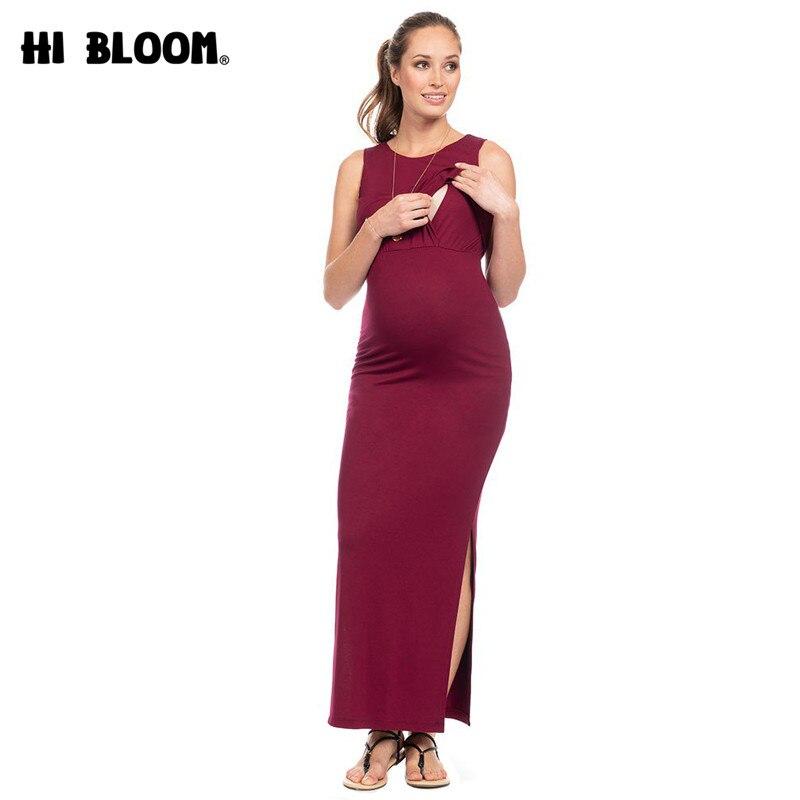 Ankle Length Maternity Maxi Dresses Wine Red Both Side Split Pregnancy Dress Summer Sleeveless Pregnant Women's Nursing Vestidos