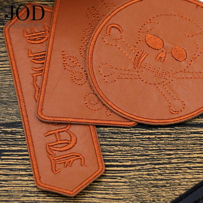 JOD Hitam Kulit Tengkorak Patch Jaket Bordiran Punk Besi Pada Aplikasi Pakaian Stiker Rock Logo Dekoratif Pengendara Sepeda Motor Merek