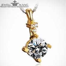 Jewellwang Moissanites Pendants Original Poker 0.5ct 18K Yellow Gold Certified Jk/vvs1 Forever Classic Shiny Pendant For Women