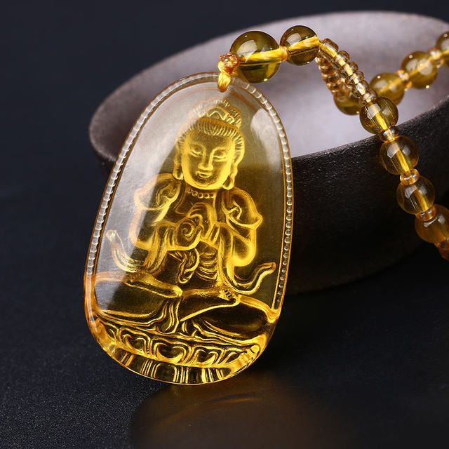 Yumten Bead Chain Necklace Citrine Pendant Ethnic Women Fine Jewelry Wedding Bijoux Buddha Lucky Natural Crystal Accessories Men 1