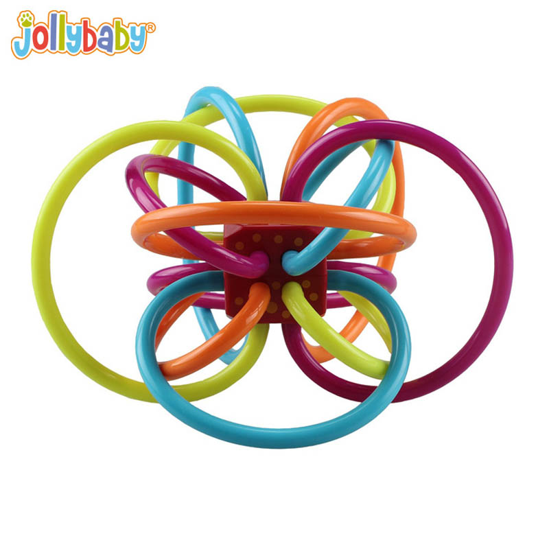 Jollybaby Baby Toy Baby Ball Toy Rattles Develop Baby Intelligence Baby Toys Plastic Hand Bell Rattle 0-12 Months BM88