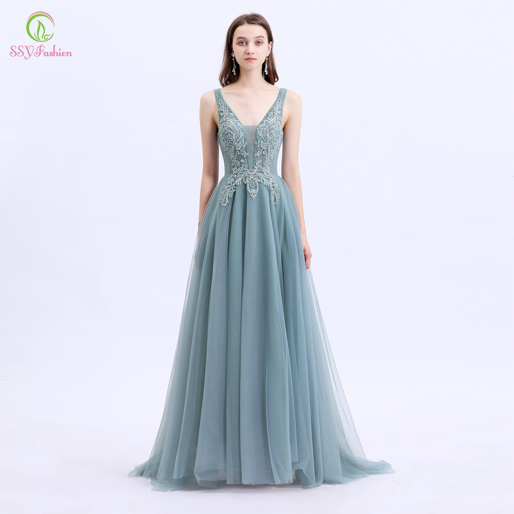 SSYFashion New Vestido De Noche Women Banquet Elegant Evening Dress V-neck Lace Appliques Beading Long Party Formal Gowns