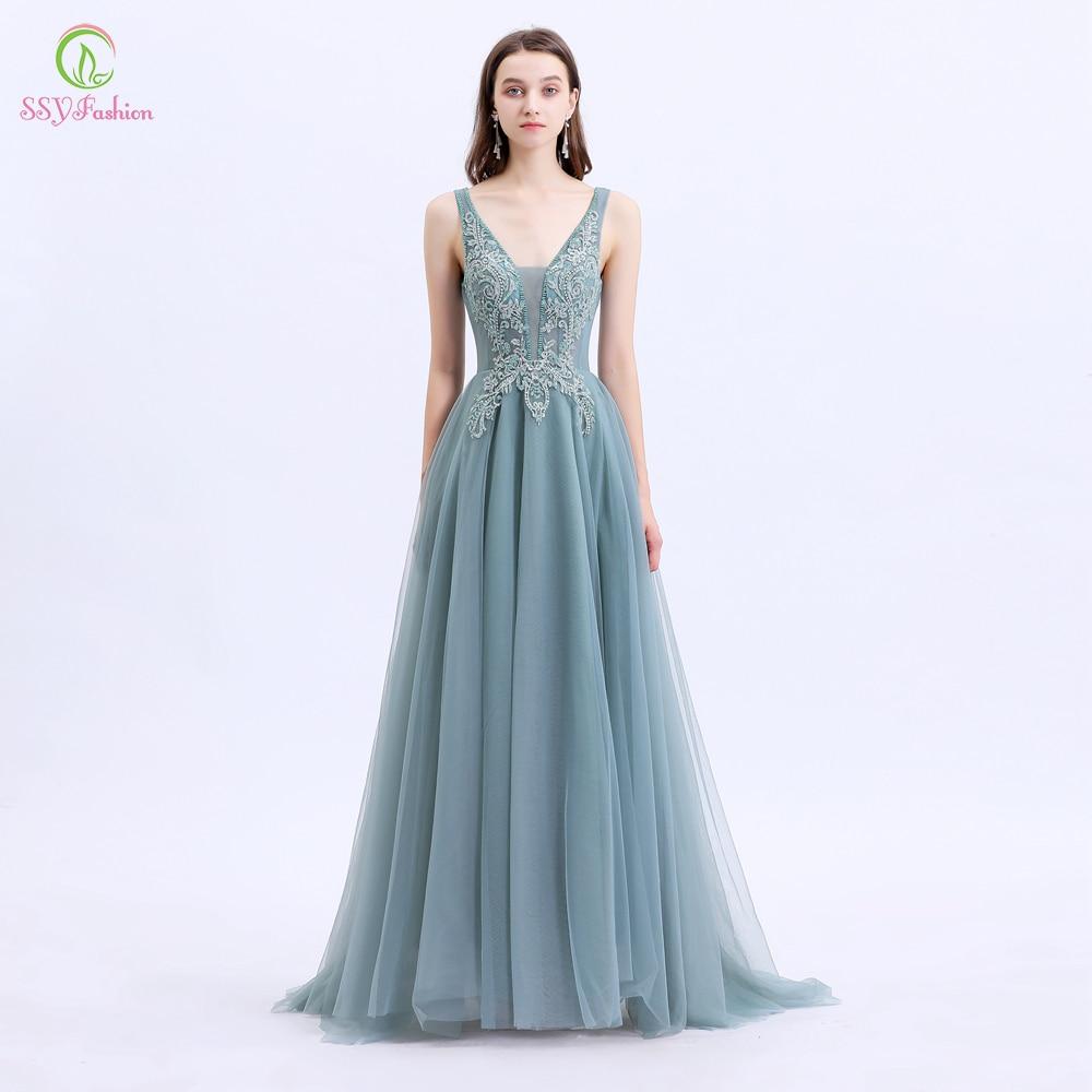 SSYFashion New Vestido De Noche Women Banquet Elegant Evening Dress V-neck Lace Appliques Beading Long Party Formal Gowns