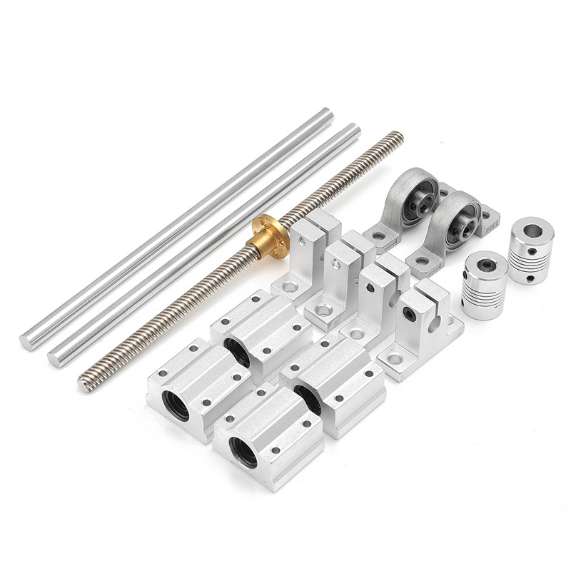 15Pcs/set 8mm Steel Optical Axis + Block Bearing + Lead Screw Rod With Nut Set For 3D Printer CNC