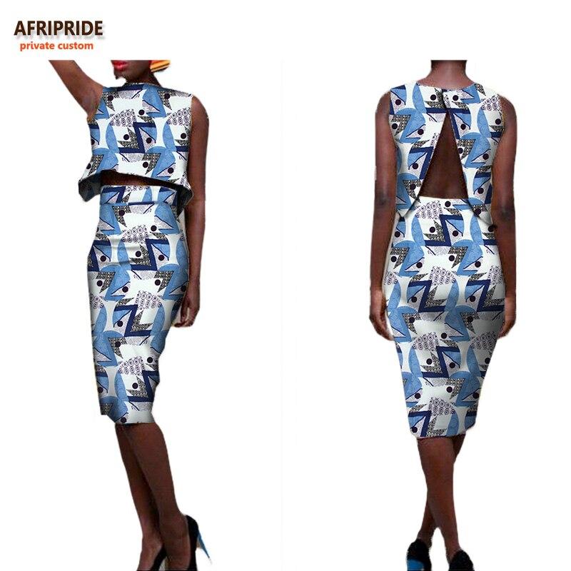 2018 été style africain femmes deux pièces costume AFRIPRIDE privé personnalisé t-shirt sans manches + jupe au genou super cire cottonA722635