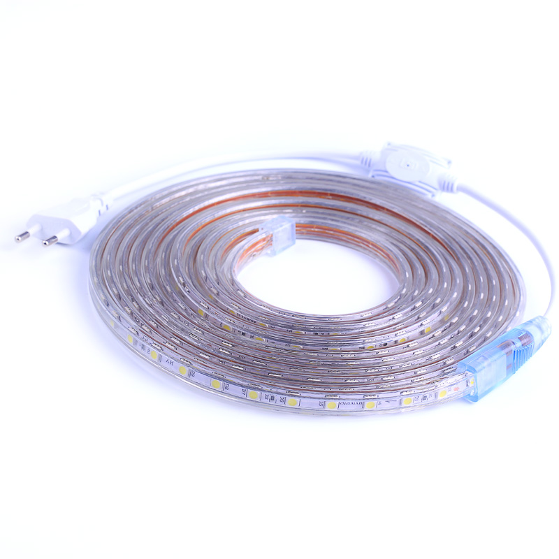 AC220V LED Strip SMD5050 Flexible Light 60leds/m Waterproof Led Tape LED Light With Power Plug 1M/2M/3M/5M/6M/8M/9M/10M/15M/20M
