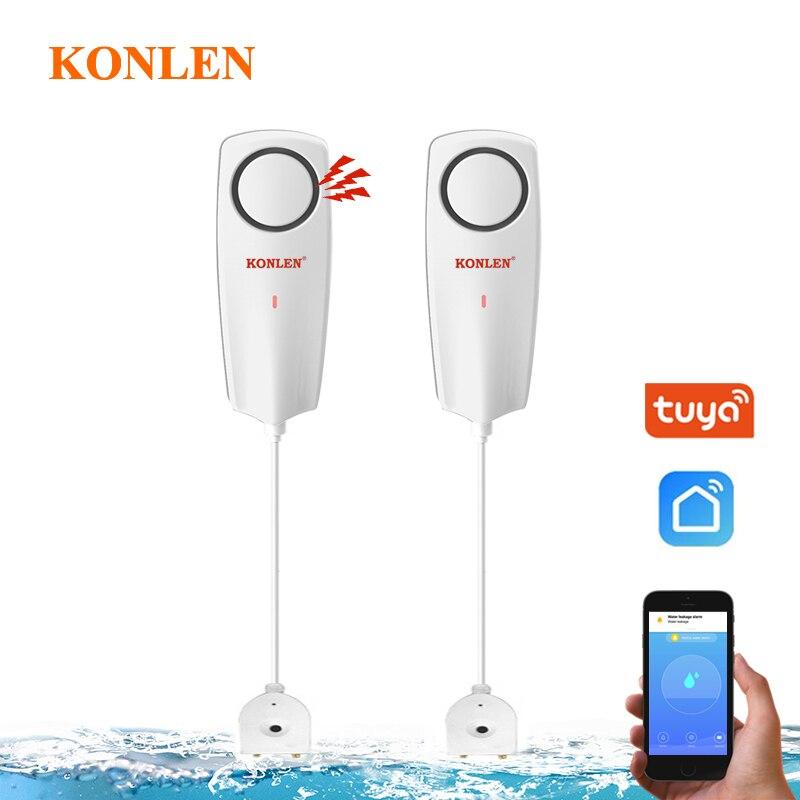 KONLEN WIFI Liquid Leak Sensor Wireless Water Level Detector Leakage  Overflow Buzzer Tuya Smart APP
