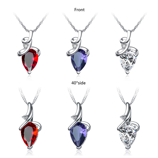 SHUANGR Women 3 Colors Crystal Rhinestone Drop Silver Color Chain Necklace Pendant For Women Jewelry Statement Bijouterie Gift 1