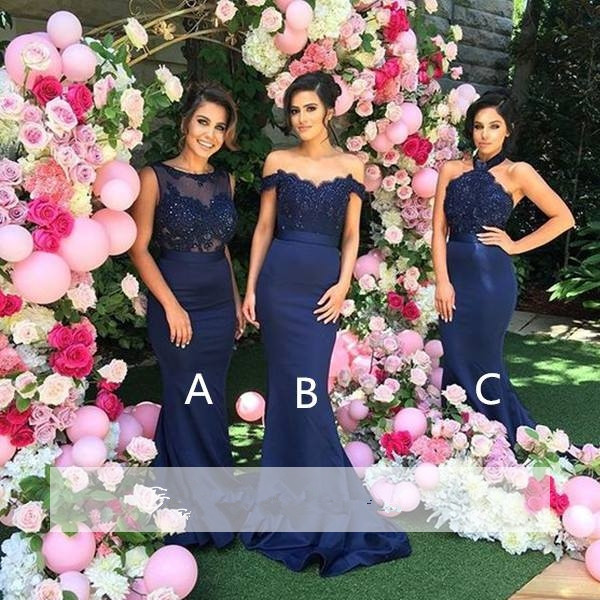 Navy Blue 2019 Cheap   Bridesmaid     Dresses   Under 50 Mermaid Off The Shoulder Lace Beaded Long Wedding Party   Dresses