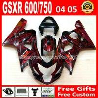 Высокий класс для SUZUKI GSXR 600 750 зализа K4 2004 2005 RIZLA версия черный красный пламя gsxr600 QAR GSX R750 04 05 7 597