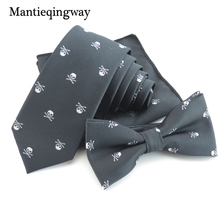 Mantieqingway Polyester Tie Set Business Handkerchief Necktie Bowtie Skull Pocket Square Corbatas Hombre Pajarita Chest Towel