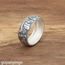 KJJEAXCMY Boutique jewelry S990 sterling silver jewelry, handmade, silver,  Thai silver, personal rings, female lotus rin s990 sterling silver fashion jewelry personalized men s retro thai silver spike mosaic agate turquoise pendant