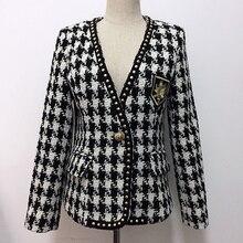 HIGH STREET New Fashion 2020 Designer Jacket Womens Single Button Rivet Plaid Tweed Wool Coat Jacket