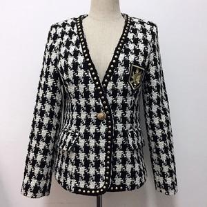 Image 1 - Yüksek sokak yeni moda 2020 tasarımcı ceket kadın tek düğme perçin ekose tüvit yün ceket ceket