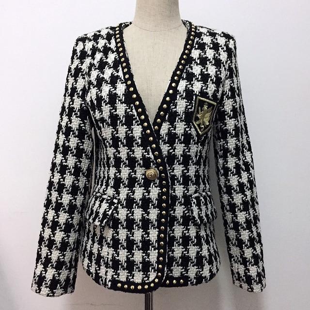 Yüksek sokak yeni moda 2020 tasarımcı ceket kadın tek düğme perçin ekose tüvit yün ceket ceket