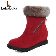 Tuyoki Women High Heel Boots Round Toe Fur Wedges Ankle Boots Fashion Winter Shoes Short Boots Woman Footwear Size 33-43 taoffen free shipping half boots women fashion short winter footwear high heel shoes sexy p8029 eur size 34 43