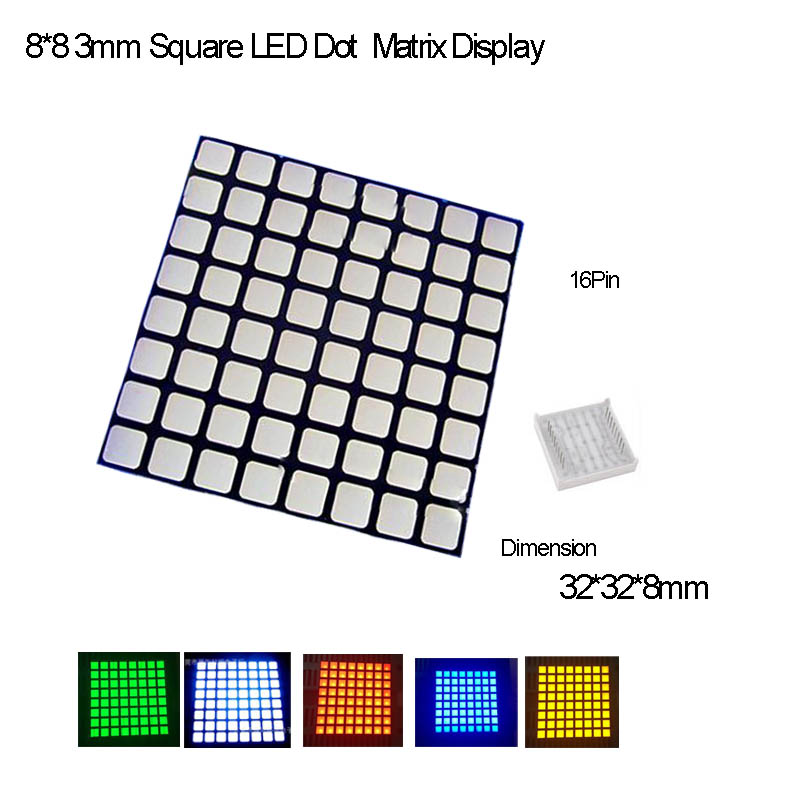 Full Color 3.0 Square LED 8*8 Dot LED Matrix Common Anode,16Pin,2PCS/lot R,G,B,Y,O,W Avalible,Fast Delivery