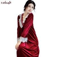 Fdfklak Spring Autumn Nightgowns Women Long Sleeve Sexy V neck Nightshirt Female Gold Velvet Long Dress Sleepwear Nightdress