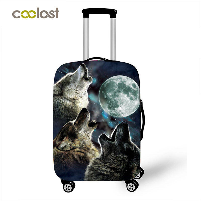 Wolf Howling Moon Luggage Covers for Girls Elatic Suitcase Protective Covers Travel Bag Case Cover 18-28 Inch Travel Accessories