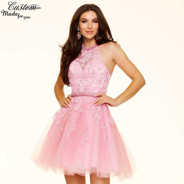 light prom dresses pink short Sexy