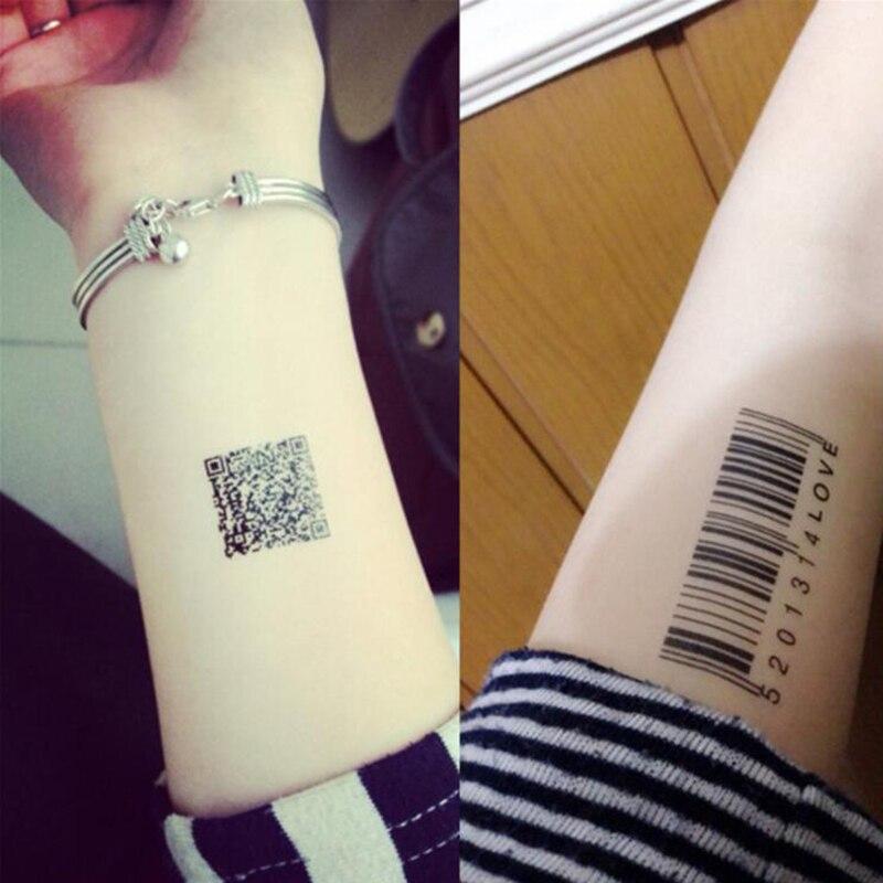 Us 061 21 Offdwuwymiarowy Kod W Paski Kod Kod Kreskowy Waterproofsimulation Naklejki Z Tatuażami Mężczyzn I Kobiety Fałszywe Naklejki Z Tatuażami