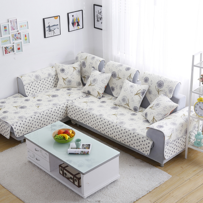 Corner Sofa Cover L Shape Sectional Couch Slipcover Single Sided Print Cotton Quilting Sofa