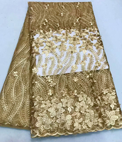 hot selling! African lace fabric 2018 embroidery golden color lace fabric.Nigeria lace for wedding dress