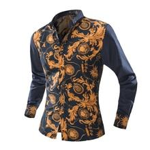 New Brand Dress Men Shirt Long Sleeve Cotton Male Business Casual Printed Fashion Formal Shirts Slim Masculina Camisa