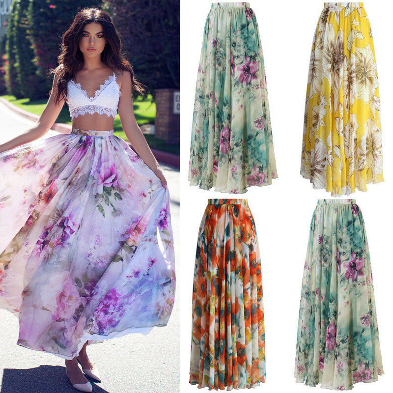 Chiffon BOHO Women Floral Gypsy Long Maxi Full Skirt Pint Ladies High Waist Beach Skirt Casual Street Wear(China)