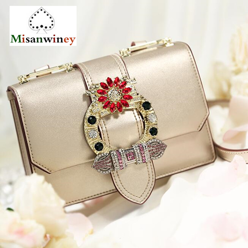 2018 Women Shoulder Bag Diamonds Designer Ladies Real Genuine Leather Crossbody Bag Luxury Famous Brands Lady Clutch Bag/Handbag famous brand women bag design classic hollow out lace real leather shoulder bag ladies party handbag luxury crossbody bags