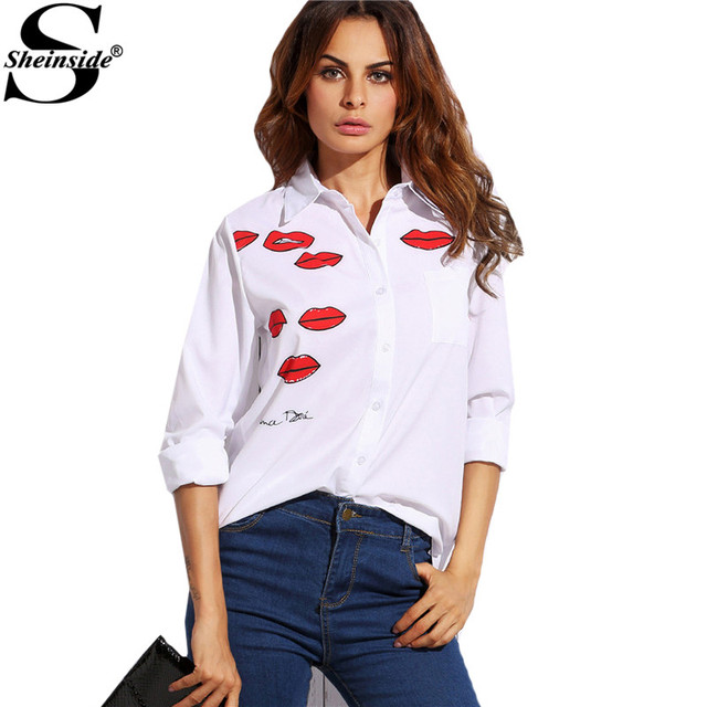 2b581ec673 Sheinside White Lip Print With Pocket Lapel Long Sleeve Buttons Front Shirt  Office Ladies Work Wear
