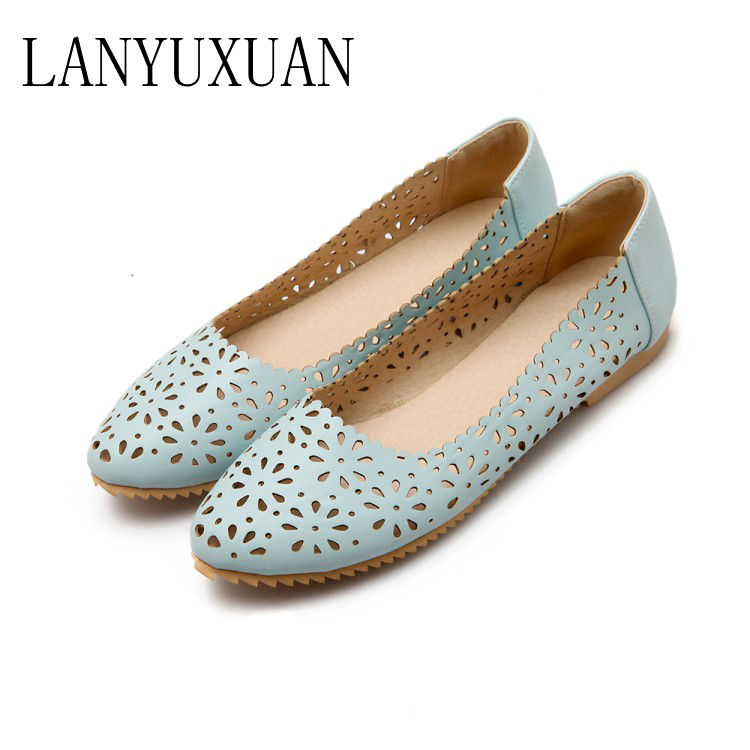 Shoes Woman Flats Female Metal Large-Size Fashion Women's 34-47 Plus Solid Casual 8-13