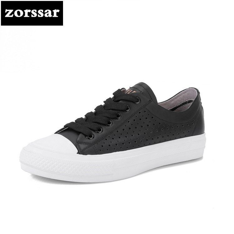 {Zorssar} Genuine cow leather Womens sneakers Breathable summer Casual flats shoes 2018 New Comfortable flat heel Driving shoes top brand high quality genuine leather casual men shoes cow suede comfortable loafers soft breathable shoes men flats warm