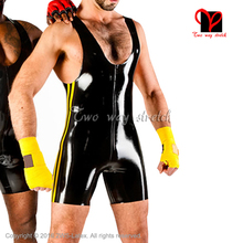 Фотография Sleeveless Sexy Latex Jumpsuit with stripes at sides without zipper Latex Rubber playsuit romper jump suit plus size TC-026