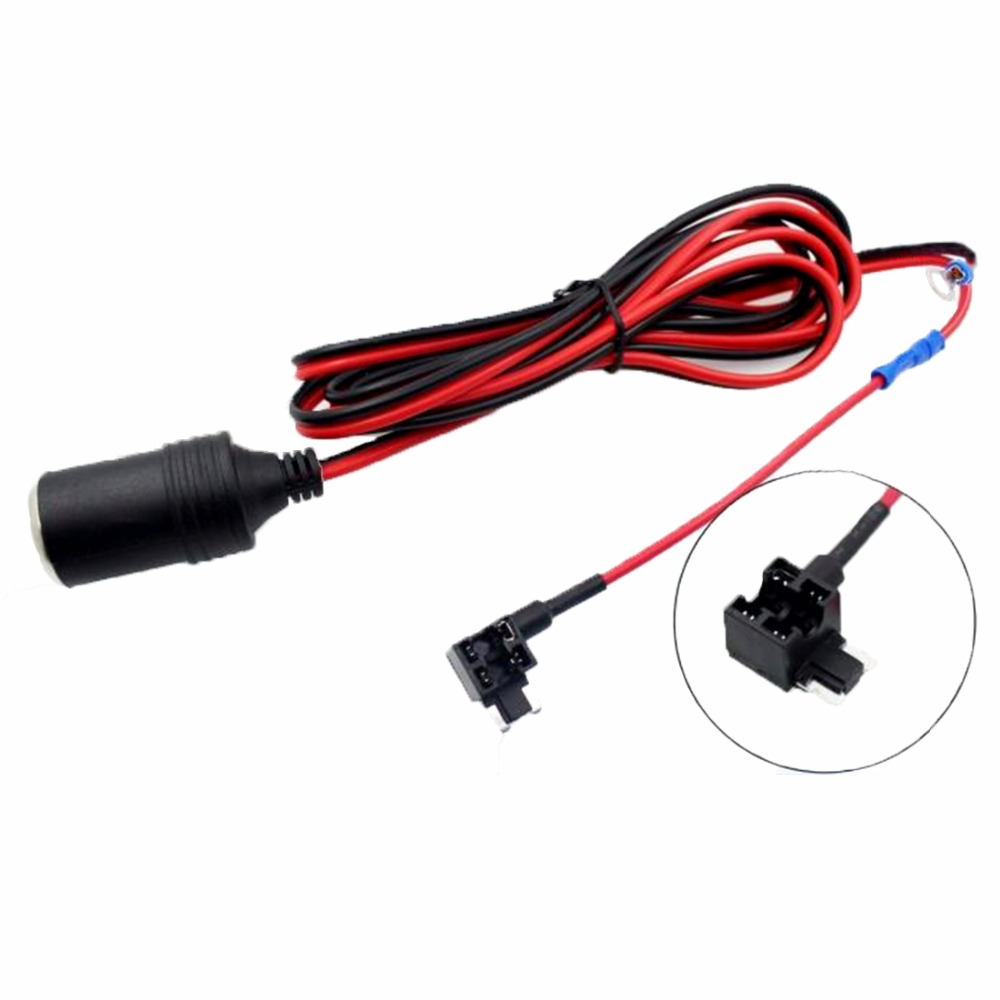 1 5mm Cigarette Lighter Female Socket With 2m Cable  Car Fuse Box Holder For Micro Mini Standard