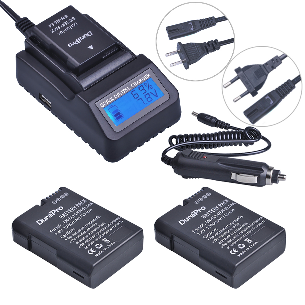 2pc EN-EL14 EN EL14 EL14A Rechargeable Li-ion Battery + LCD Fast Charger for Nikon ENEL14 d5300 d5200 d5100 d3100 d3200 P710