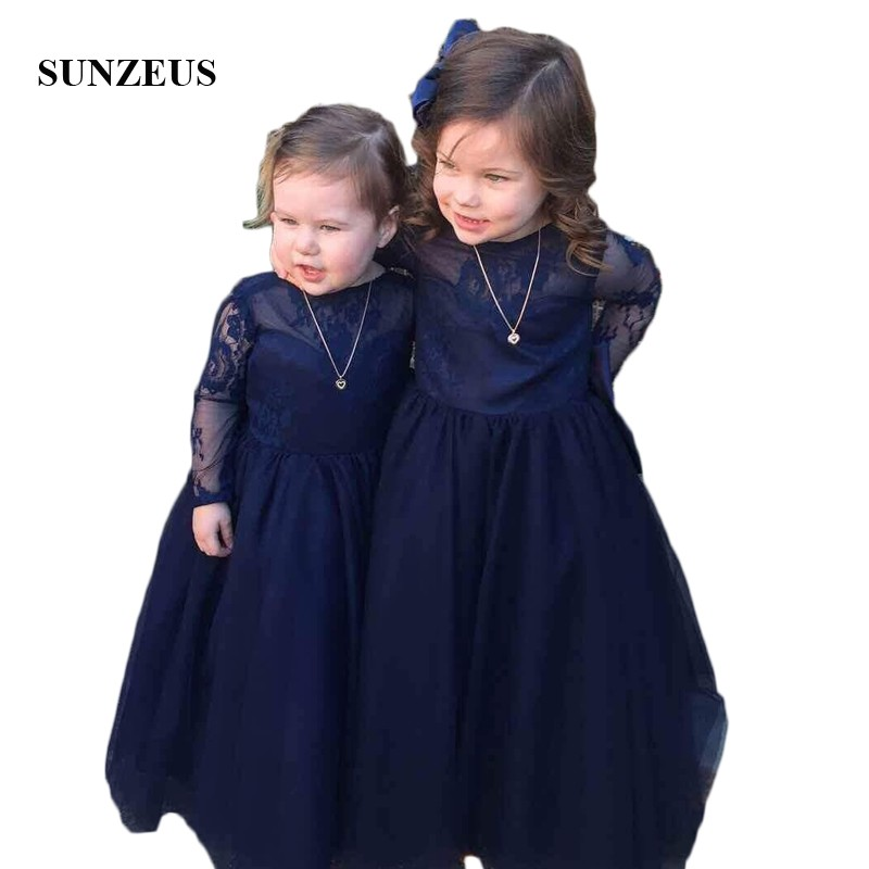 Navy Blue Lace Girls Pageant Party Dresses Backless with Bow Cute Flower Girls Dresses Long Sleeve primera comunion SF45