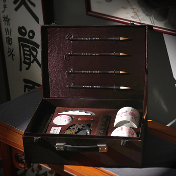 2 Styles High Quality Chinese Traditional Calligraphy Set Scholar's Four Jewels Regular Script Calligraphy Writing Brushes Set