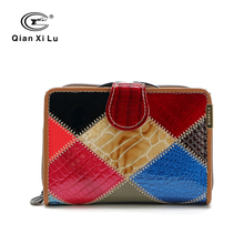 Qianxilu Brand Genuine Patent Leather Plaid Women Wallet Coin Pocket and Ladies Purse individuality