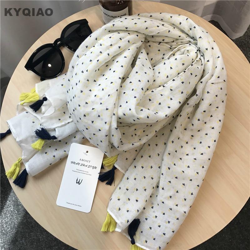 KYQIAO Women Ethnic Head Scarf 2019 Female Autumn Spring Japanese Style Fresh Sweet Long Print Tassels Scarves Muffler