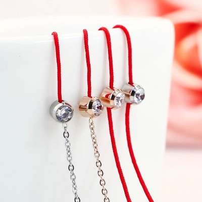 Lose Money Promotion Wholesale Hot Selling Titanium Steel Rose Gold Color Red Rope Crystal Bracelet Woman Fashion Jewelry Gift