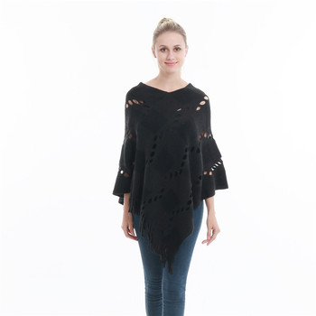 Spring Summer Women Hollow Out Sweater Knitted Tassel Shawl Poncho And Capes Ladies Long Size Cardigan Sweaters Coat 4
