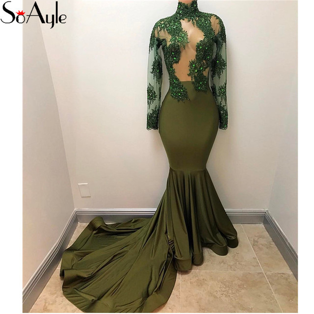 SoAyle 2018 Mermaid Long Sleeves Evening Dresses Olive Green Long Formal  Dresses Prom Lace Women s Engagement Dress Vestidos b1361c6c7b