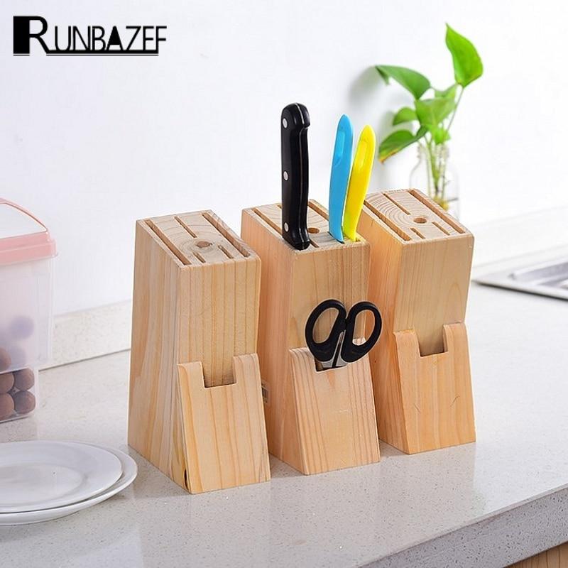 runbazef kitchen knives storage blocks wooden tool racks supplies shelves magnetic holder knifechina - Knife Storage