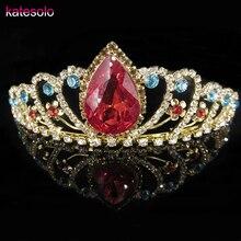 Romantic Wedding Bridal Hair Jewelry Crown Tiara Gold Color Red Water Drop Crystal Rhinestone Hairbands