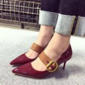 2017 New Arrival Black Burgundy High Heels Pumps Mary Jane Women's Heels Escarpins Women Pumps