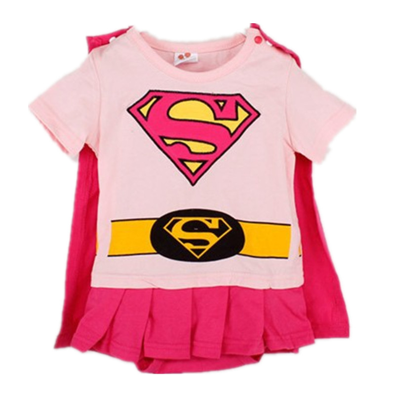 Infant Baby Romper Newborn Baby Girls Clothes Short Sleeve Halloween Superman Costume Roupa Infantil Bebes Pink Girls Dress 4pcs set newborn baby clothes infant bebes short sleeve mini mama bodysuit romper headband gold heart striped leg warmer outfit