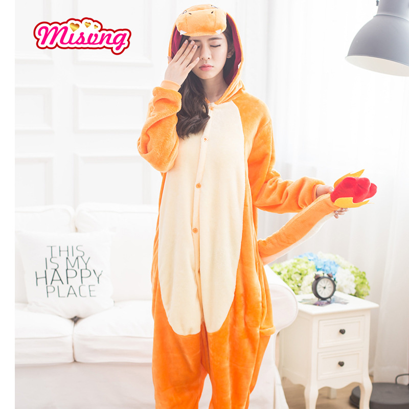 Anime Pajamas Pokemon Charmander pokemon Unisex Adult Animal Onesies Cosplay Costume Pajamas Hot Sale unisex Misvng